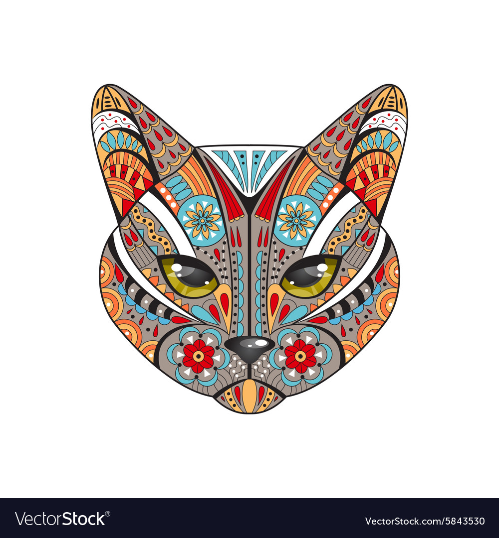 Decorative cat hand drawn vector