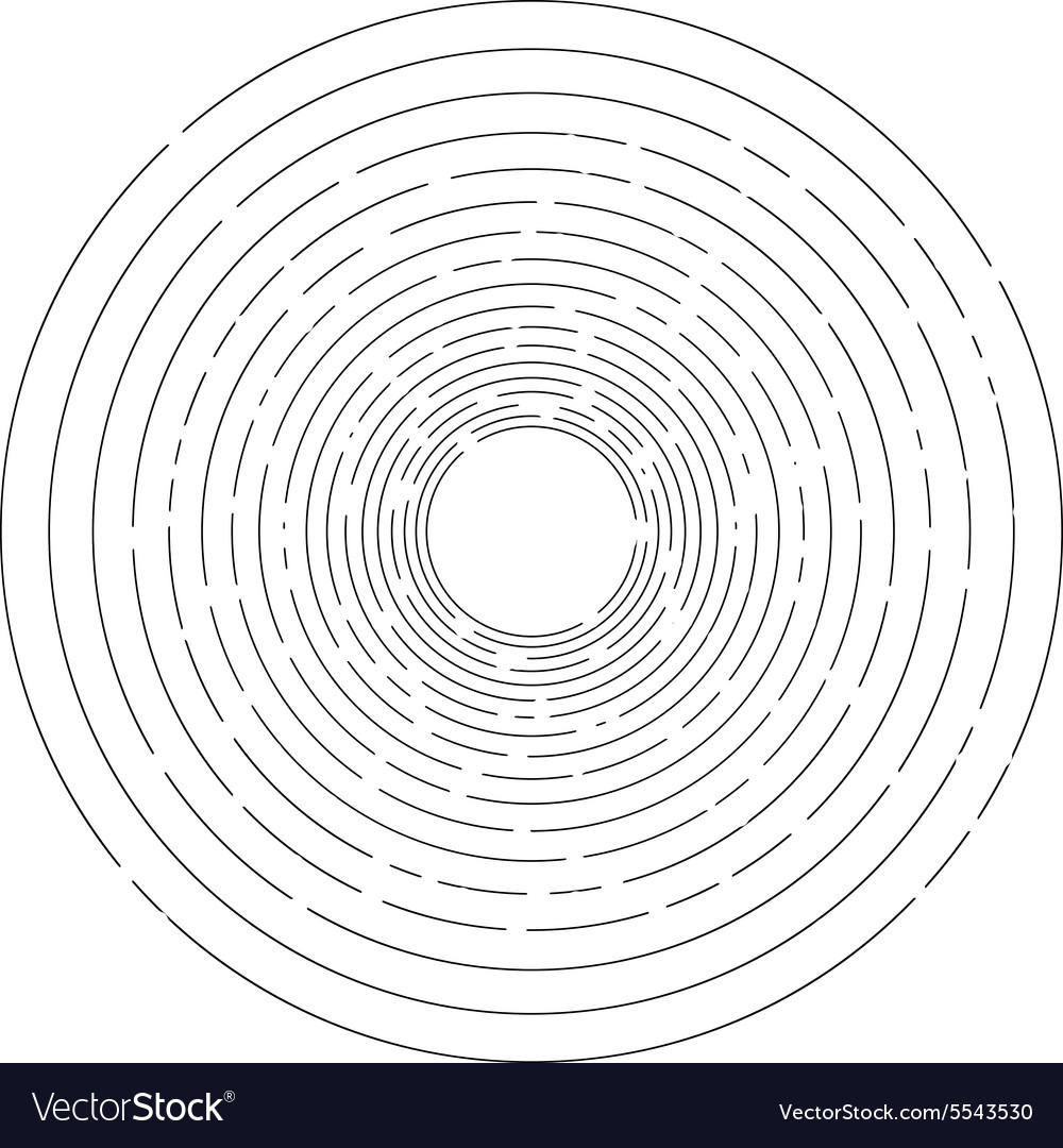 Thin random dashed concentric circles background vector