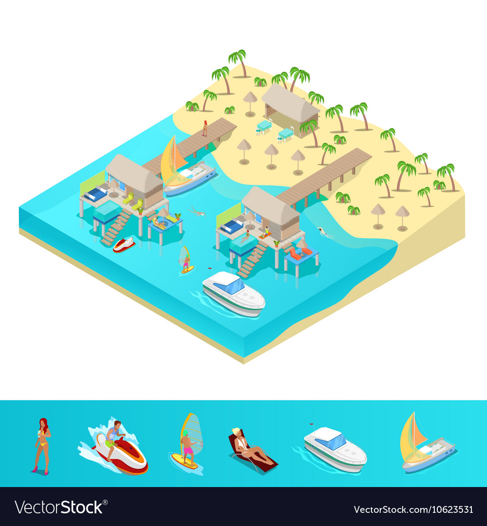 Isometric tropical beach vacation resort vector