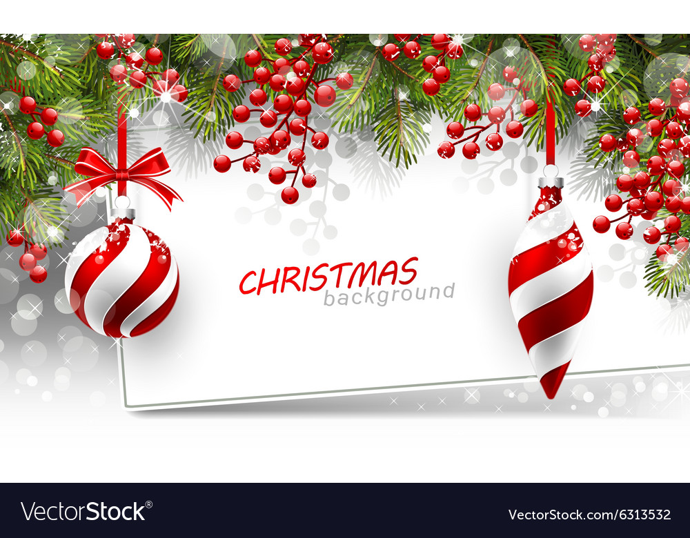 Christmas background with fir branches and red vector