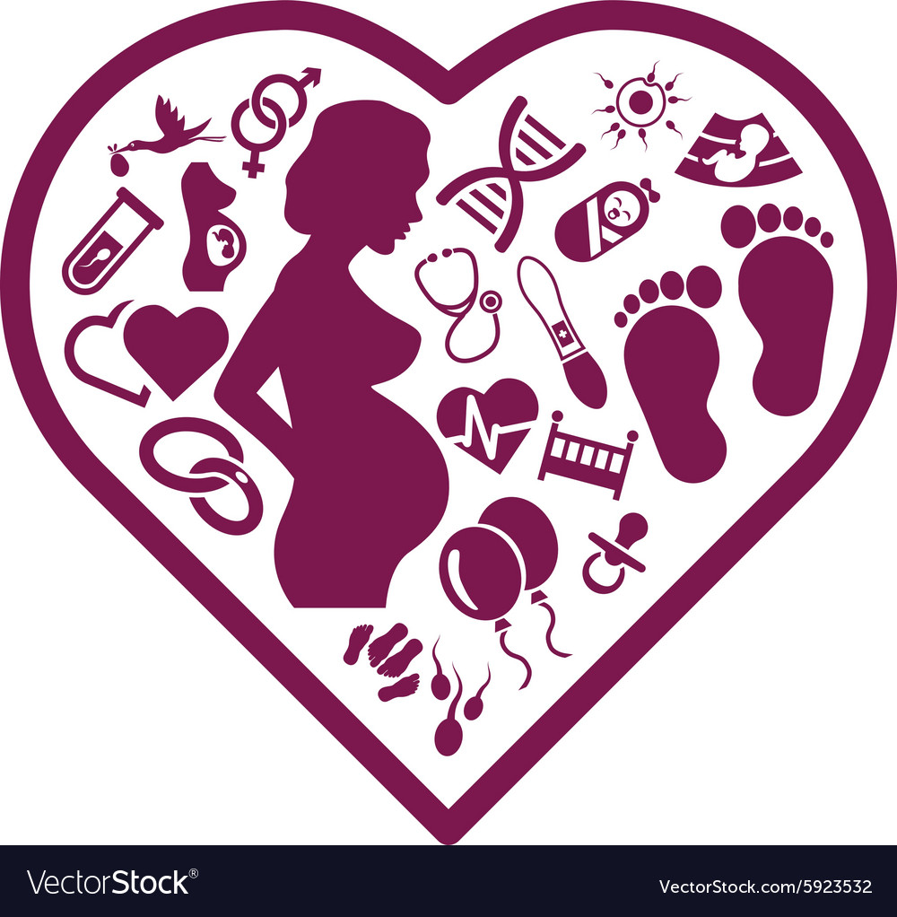 Pregnancy icons in heart vector