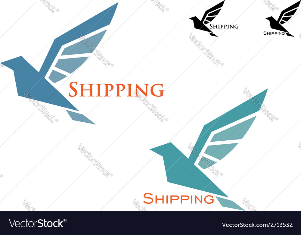 Shipping emblem with flying bird vector