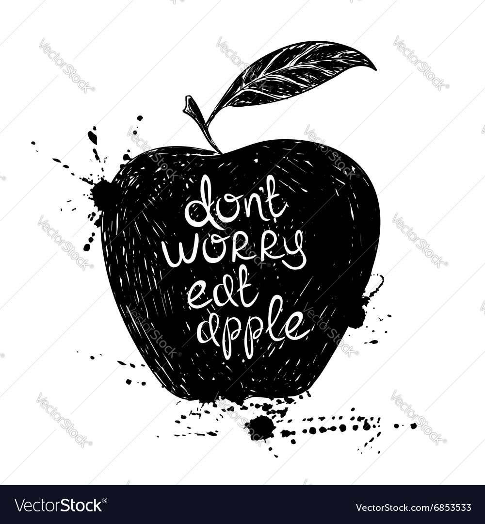 Black and white of isolated apple silhouette vector