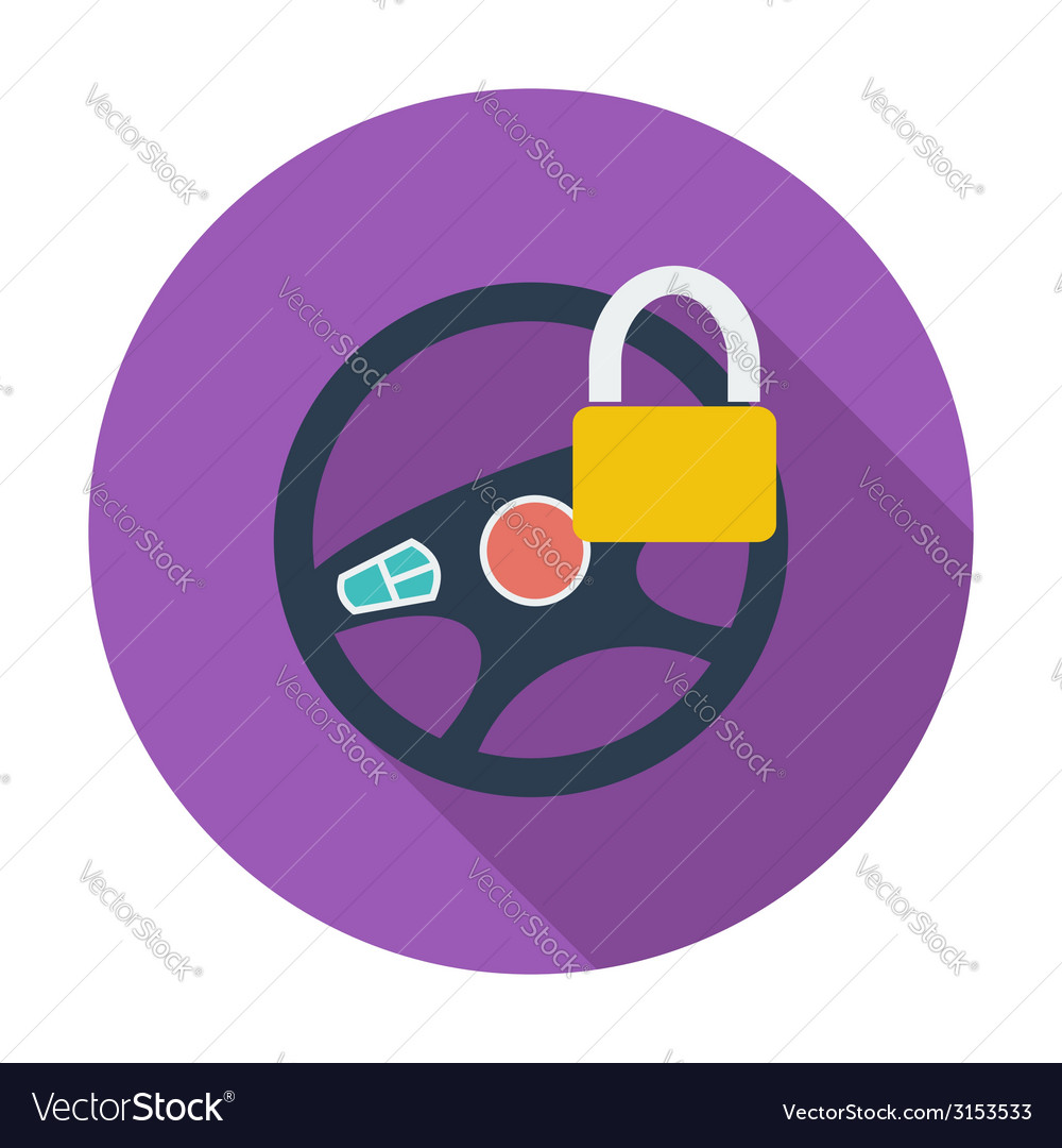 Car steering wheel flat icon vector