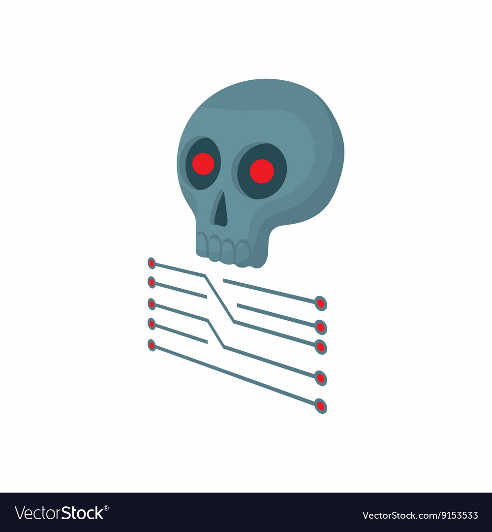 Cpu with a skull icon cartoon style vector