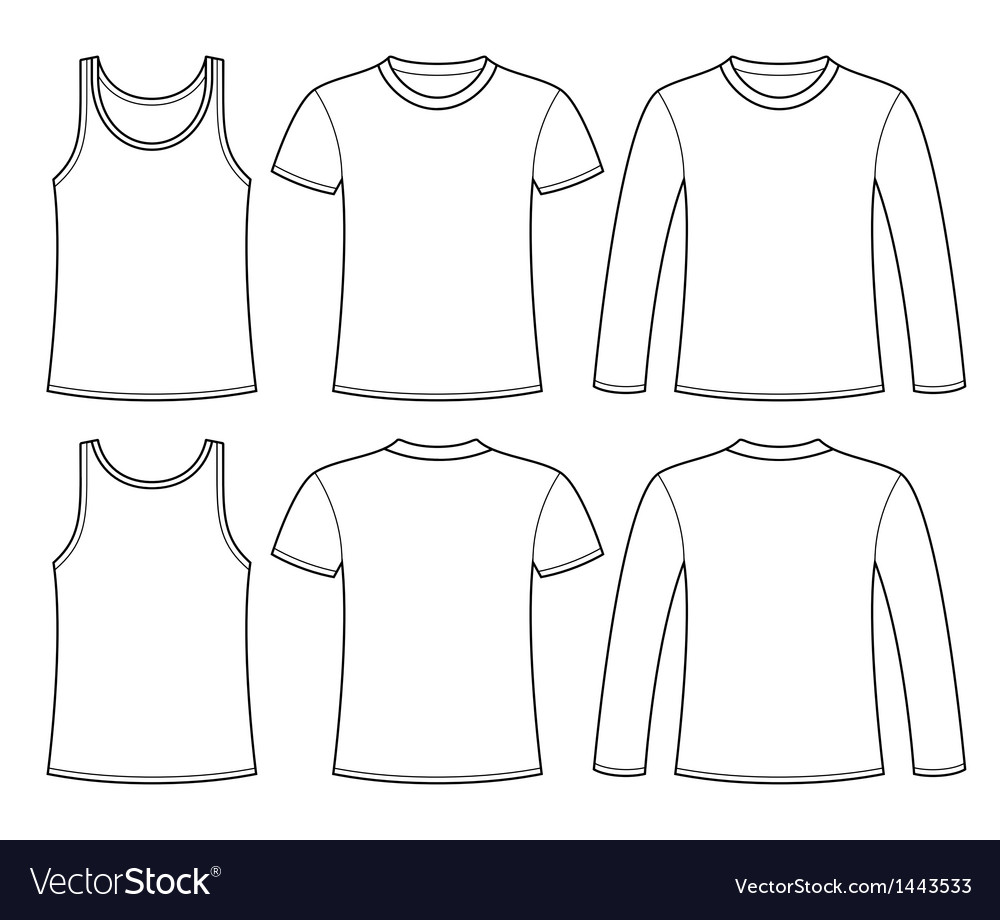 Singlet tshirt and longsleeved tshirt vector