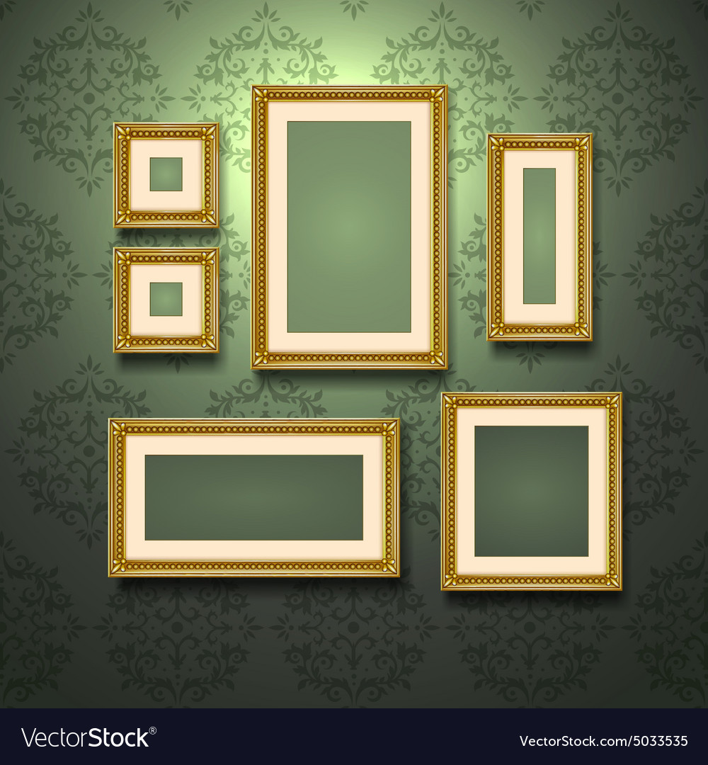 Golden frames on wall vector