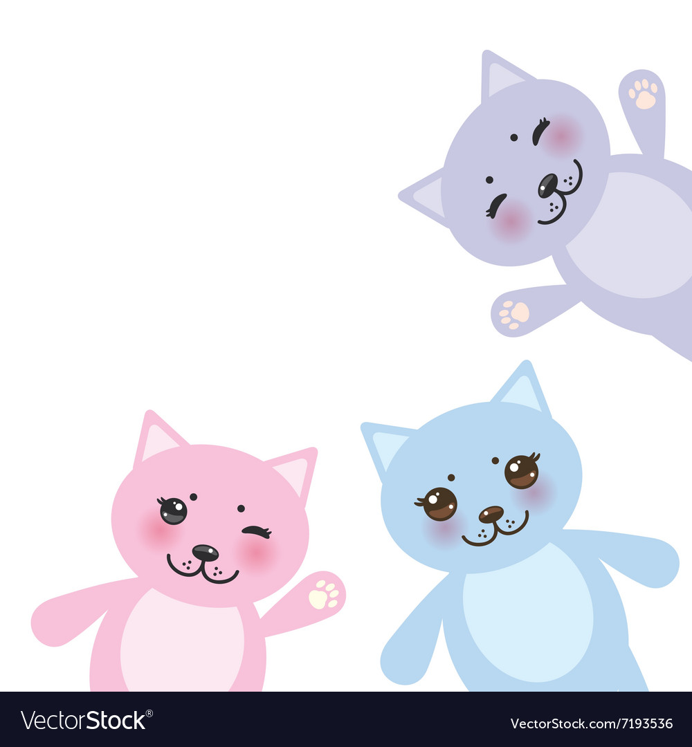 Card design set funny cats pastel colors on white vector