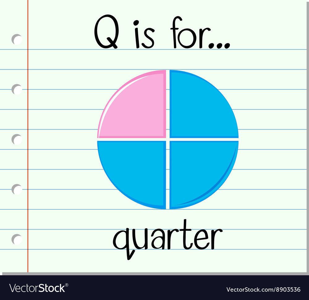 Flashcard letter q is for quarter vector