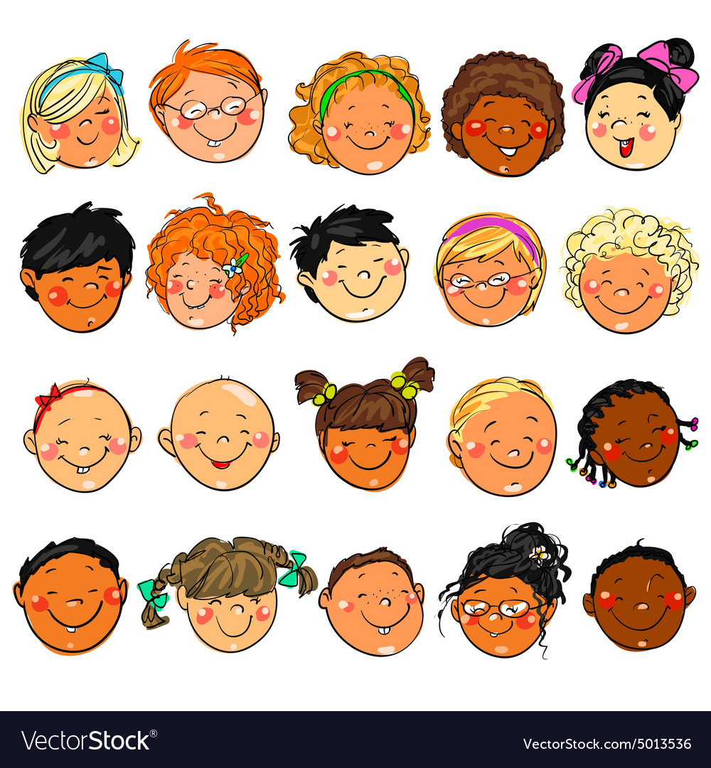 Happy kids faces hand drawn clipart vector