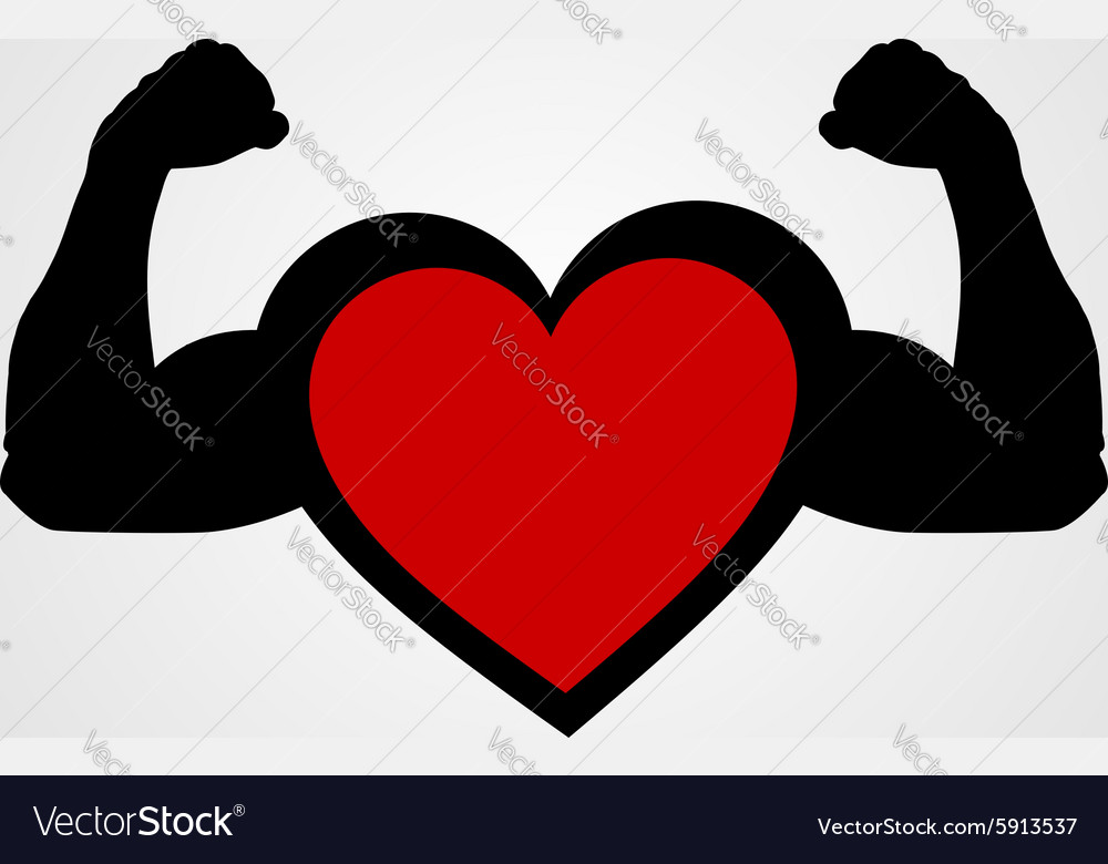 A heart with flexing muscles healthy heart vector