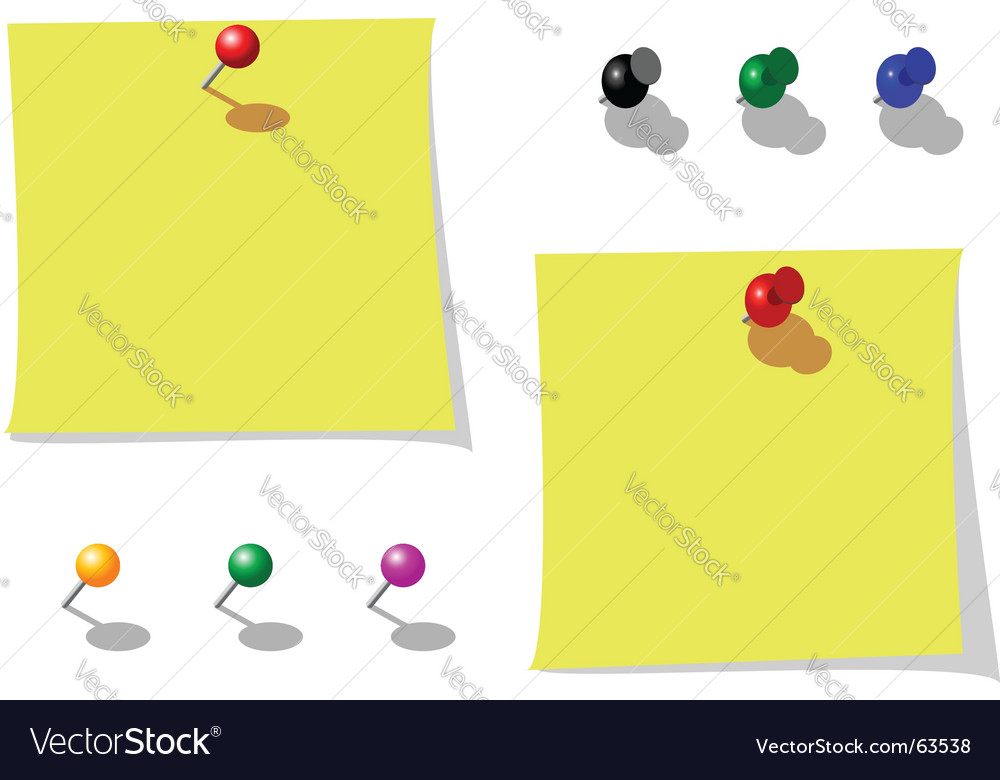 Different note papers with pins vector
