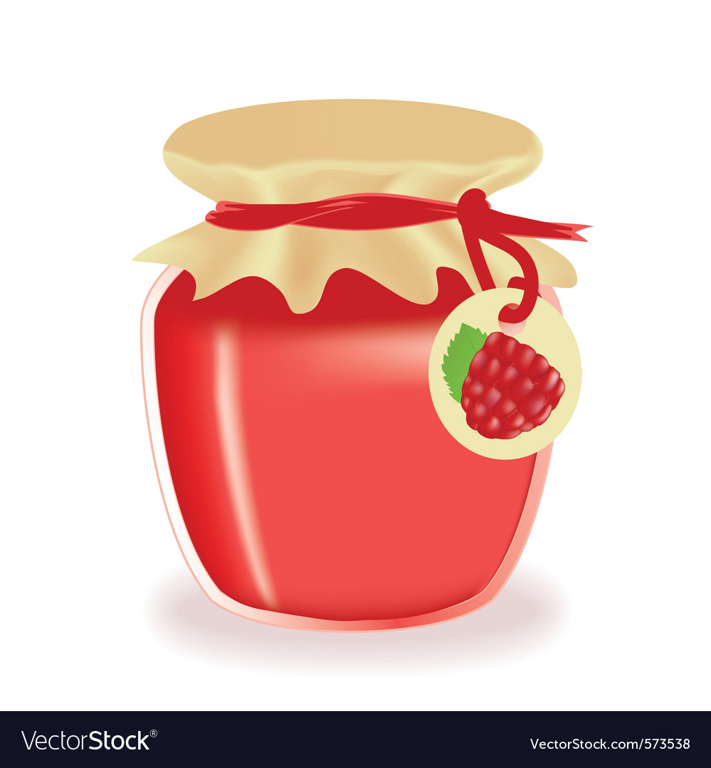 Jar of raspberry jam vector