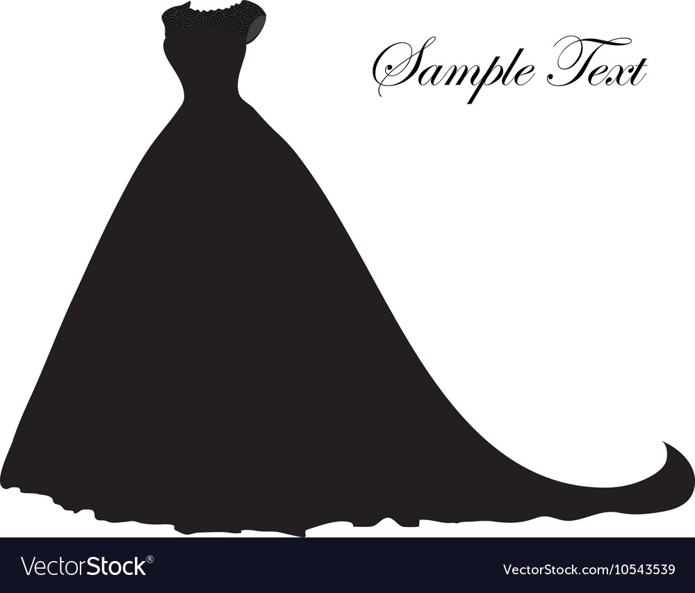 Wedding dress silhouette banner blank template vector
