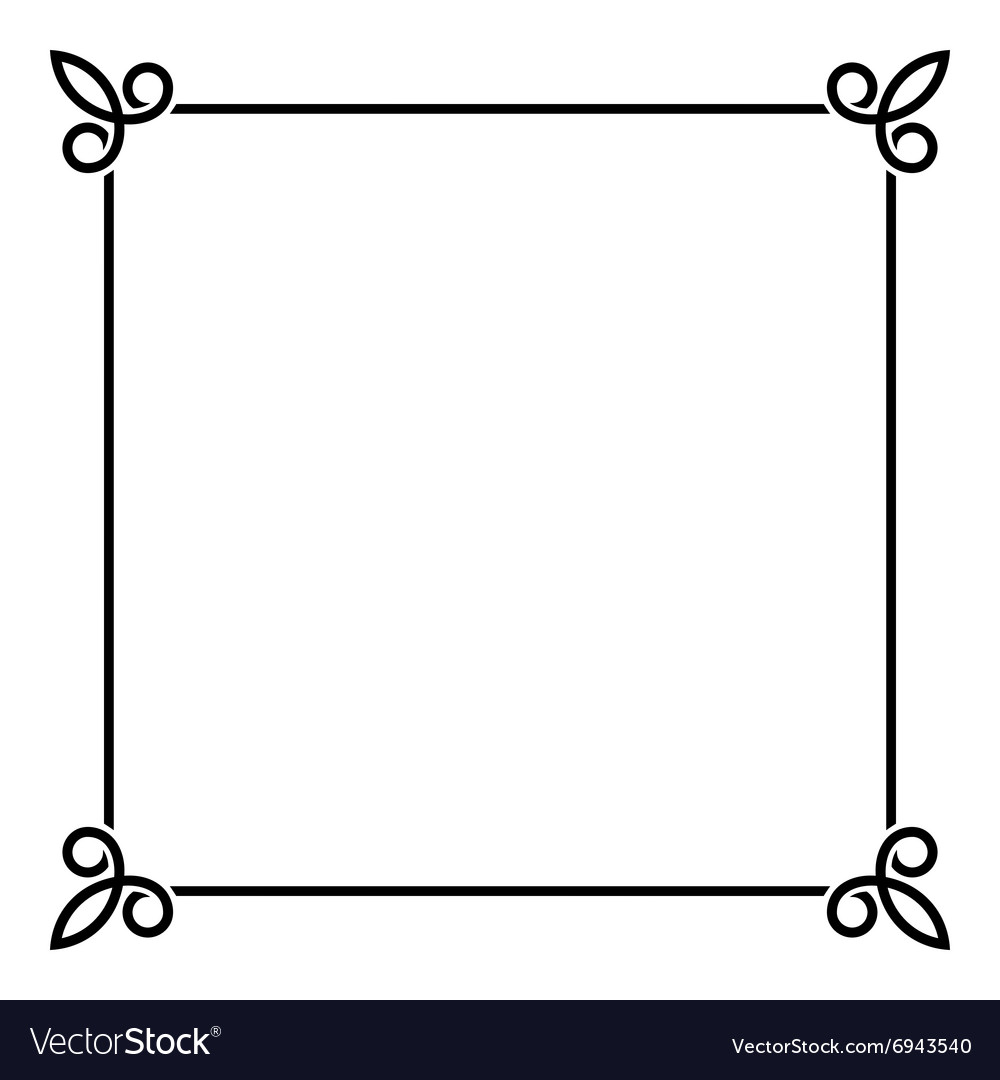 Black border vintage frame on white background vector