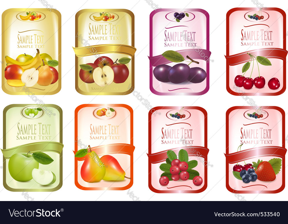 Set of labels with fruit vector