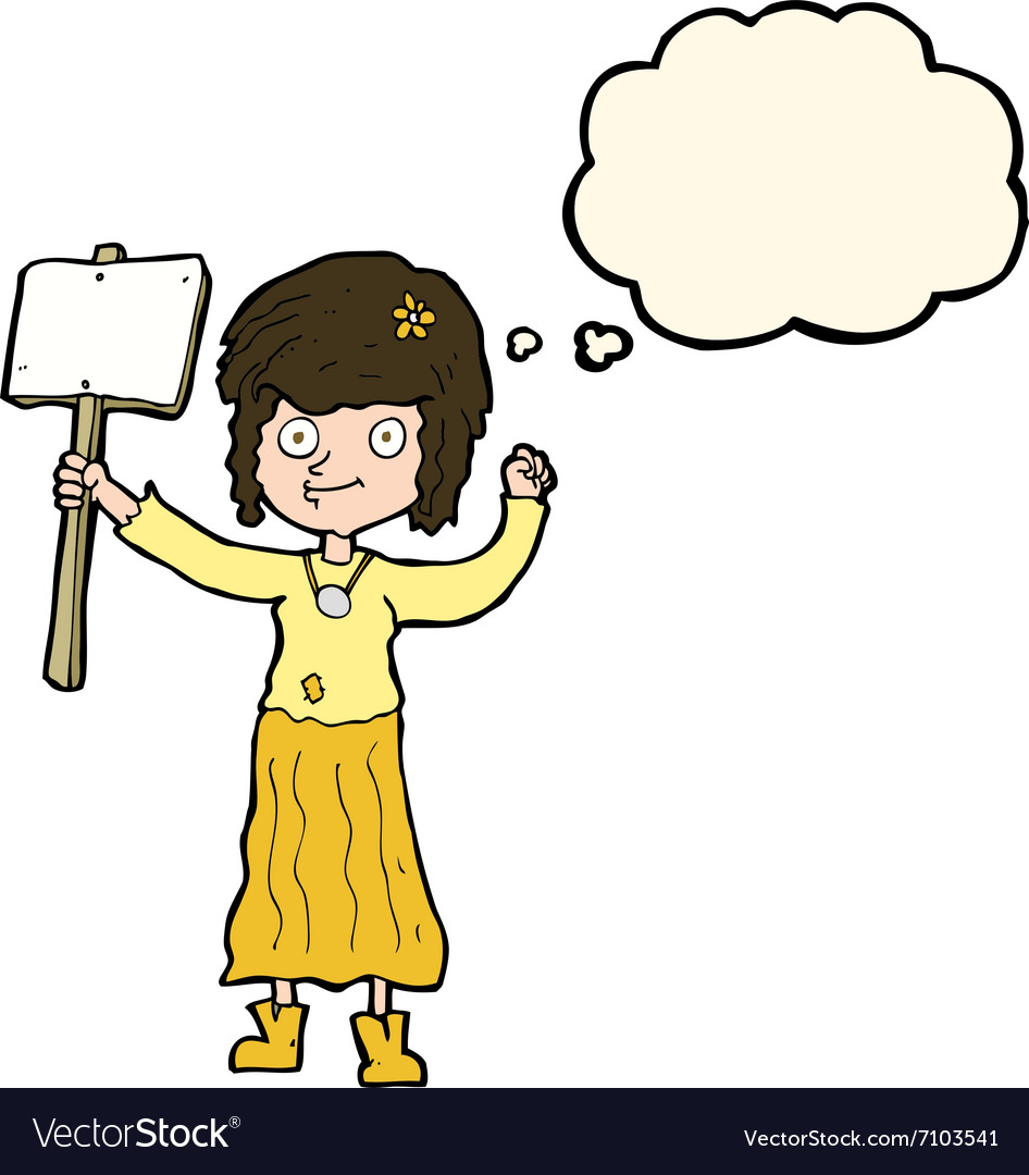 Cartoon hippie girl with protest sign with thought vector