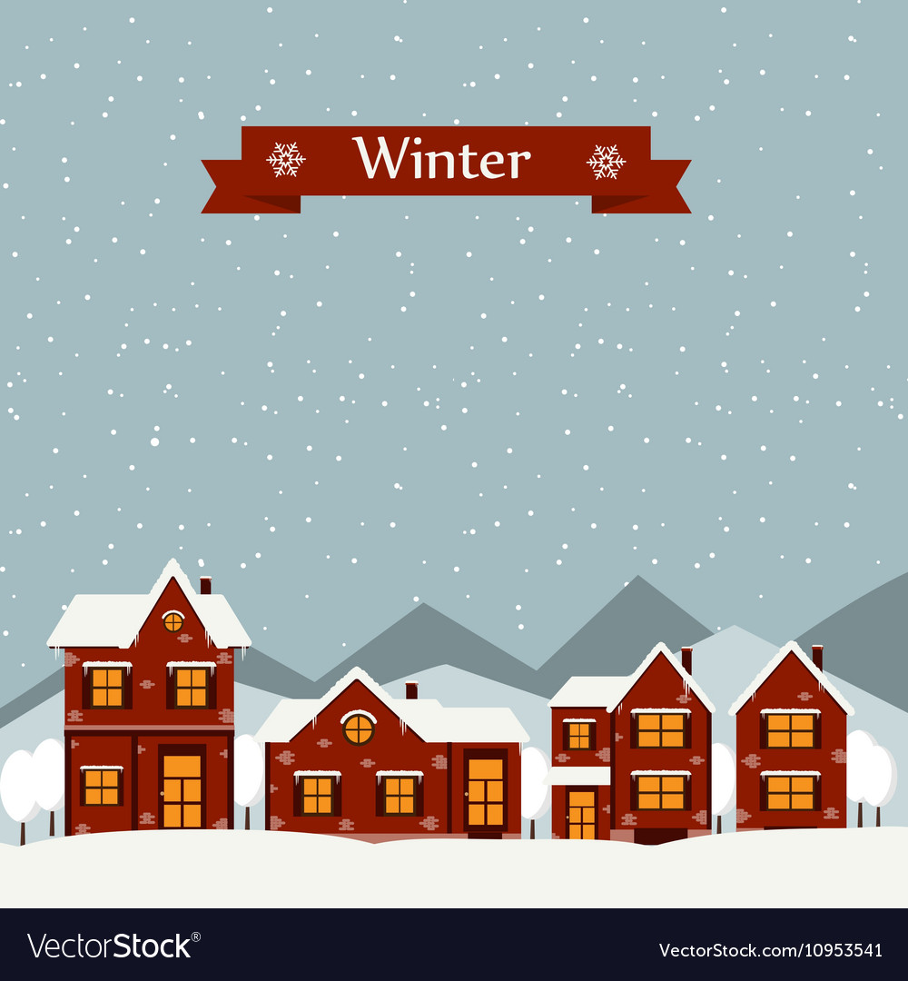 Winter landscape with cartoon houses vector