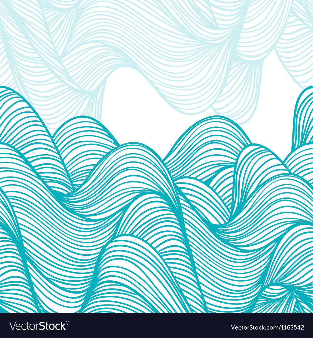 Abstract handdrawn waves background vector