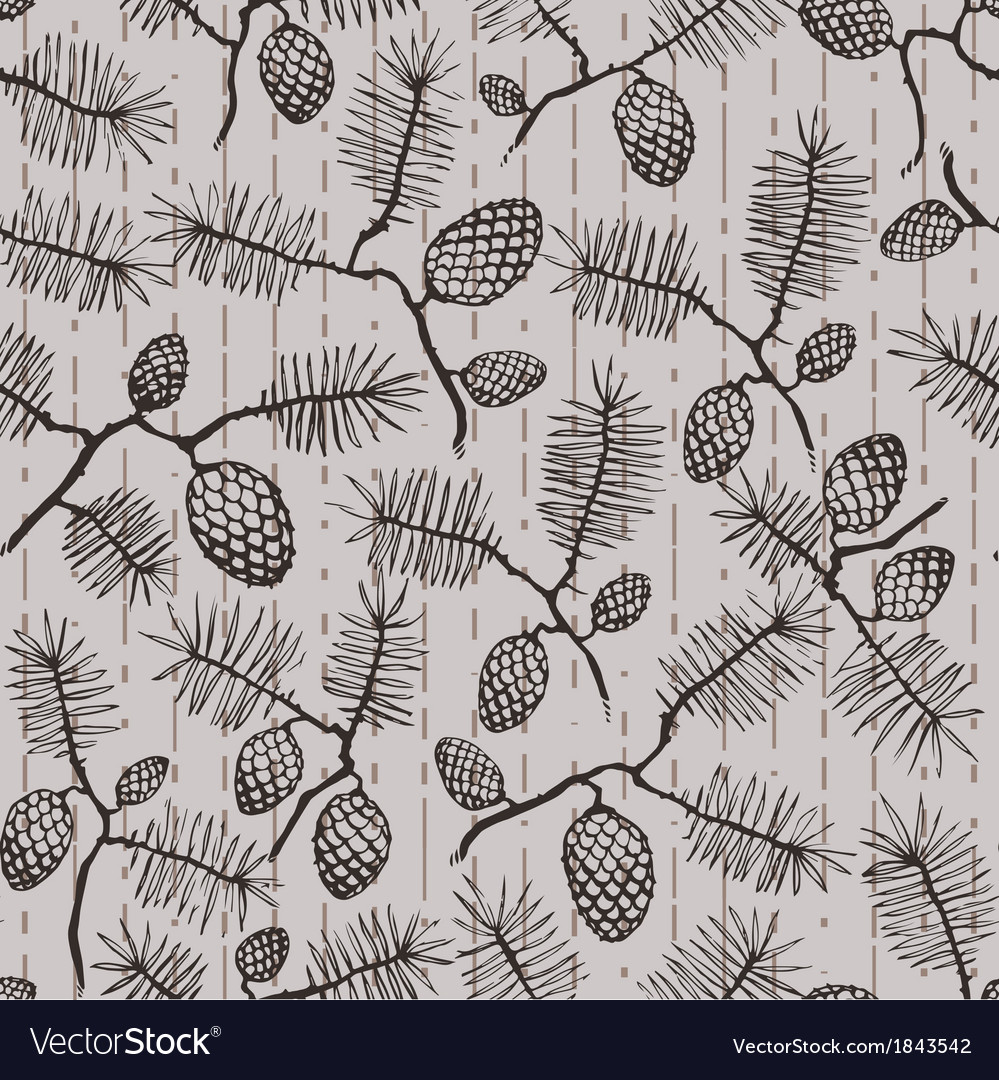 Fir cone striped pattern vector