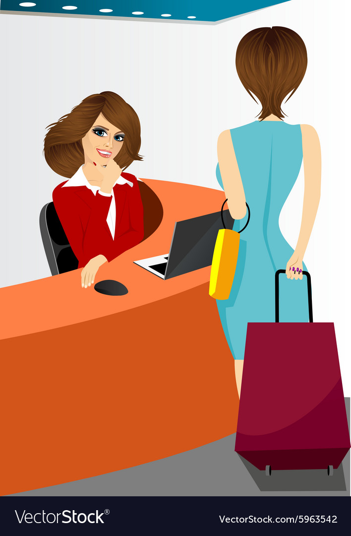 Happy female receptionist vector