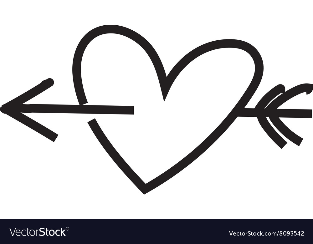Minimalist heart with arrow vector
