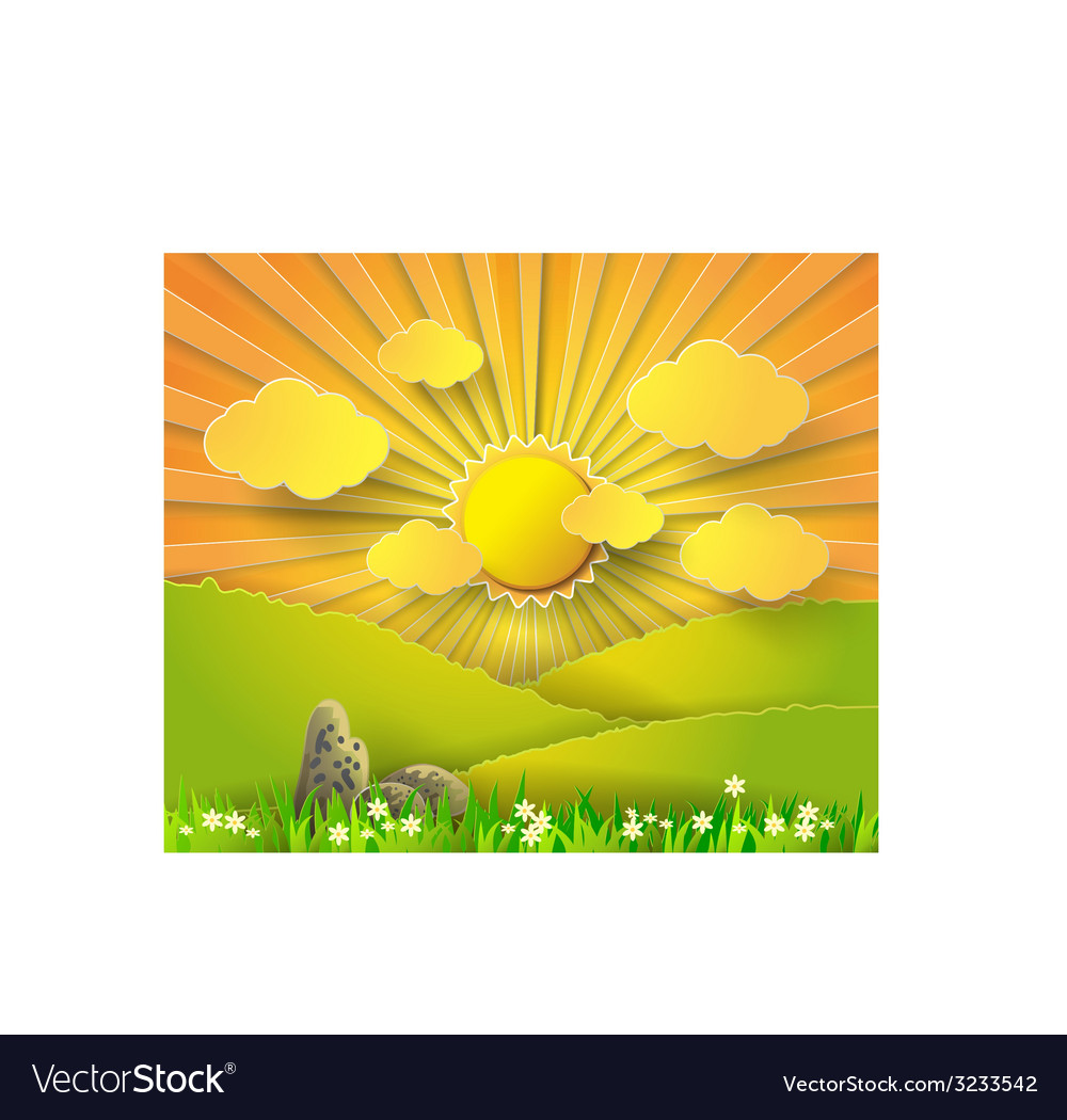 Sunrise over glass vector