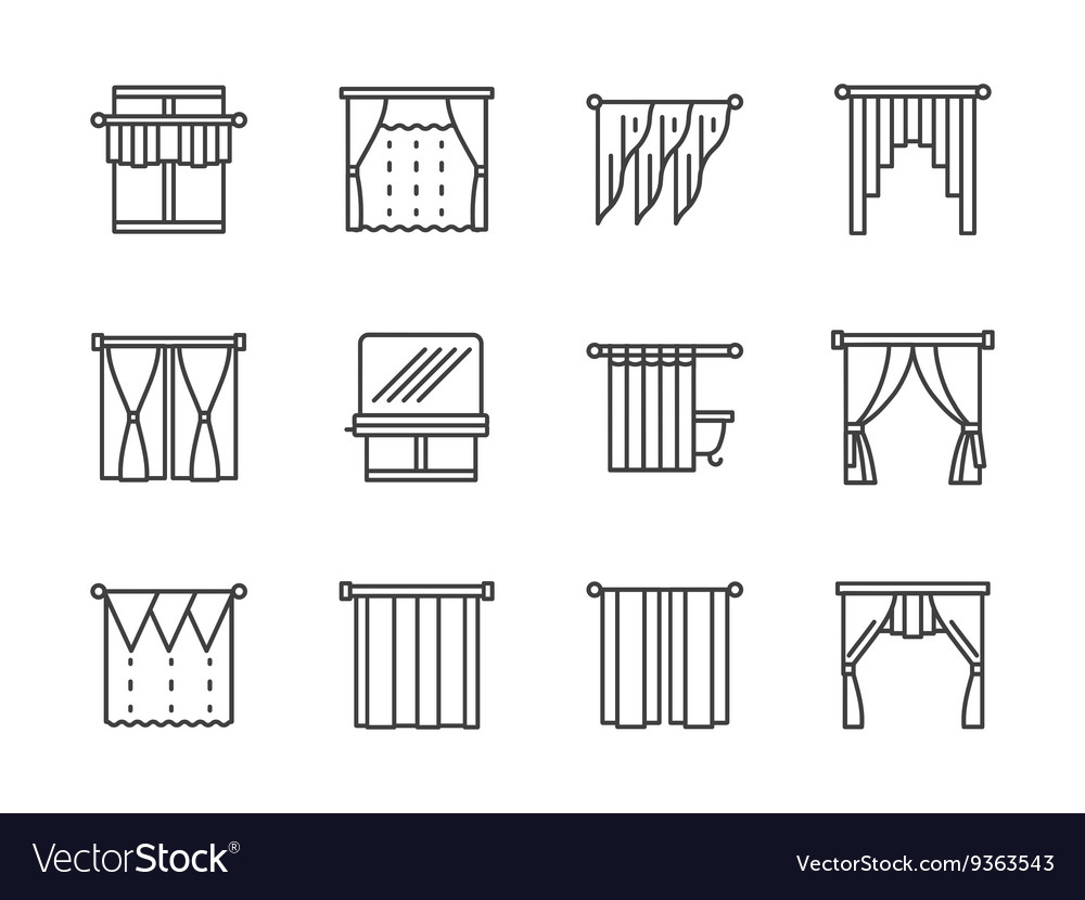 Curtains and lambrequin black line icons vector
