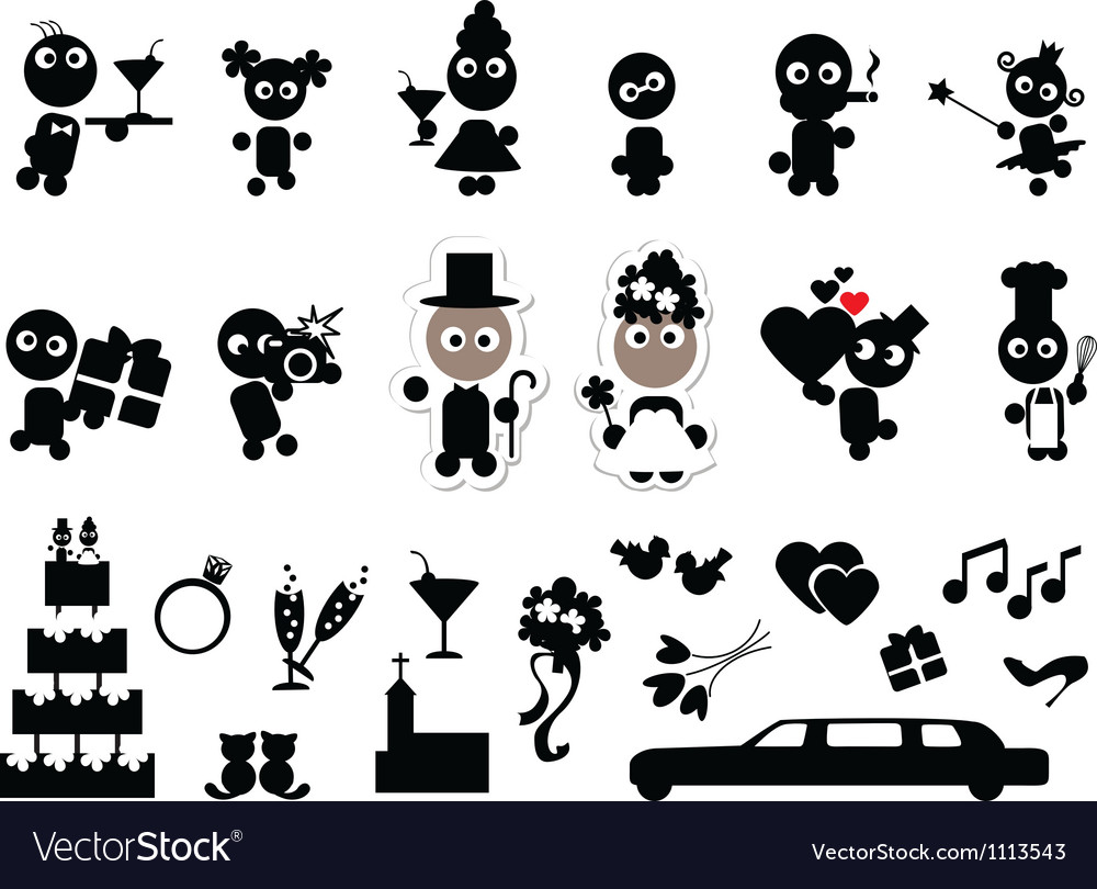 Doodles wedding set vector