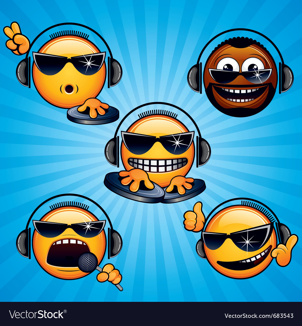 Funny dj icons vector
