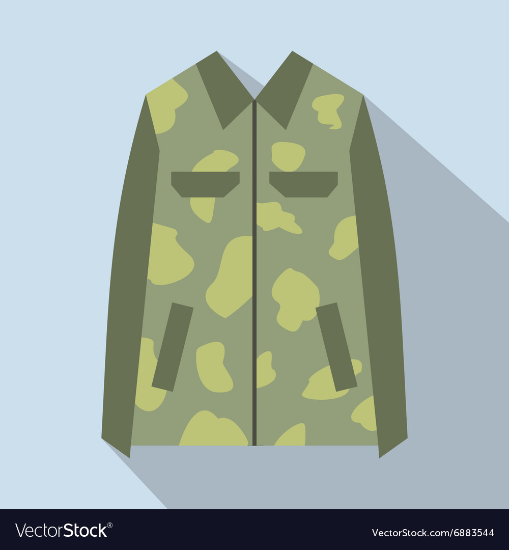 Camouflage jacket cartoon icon vector