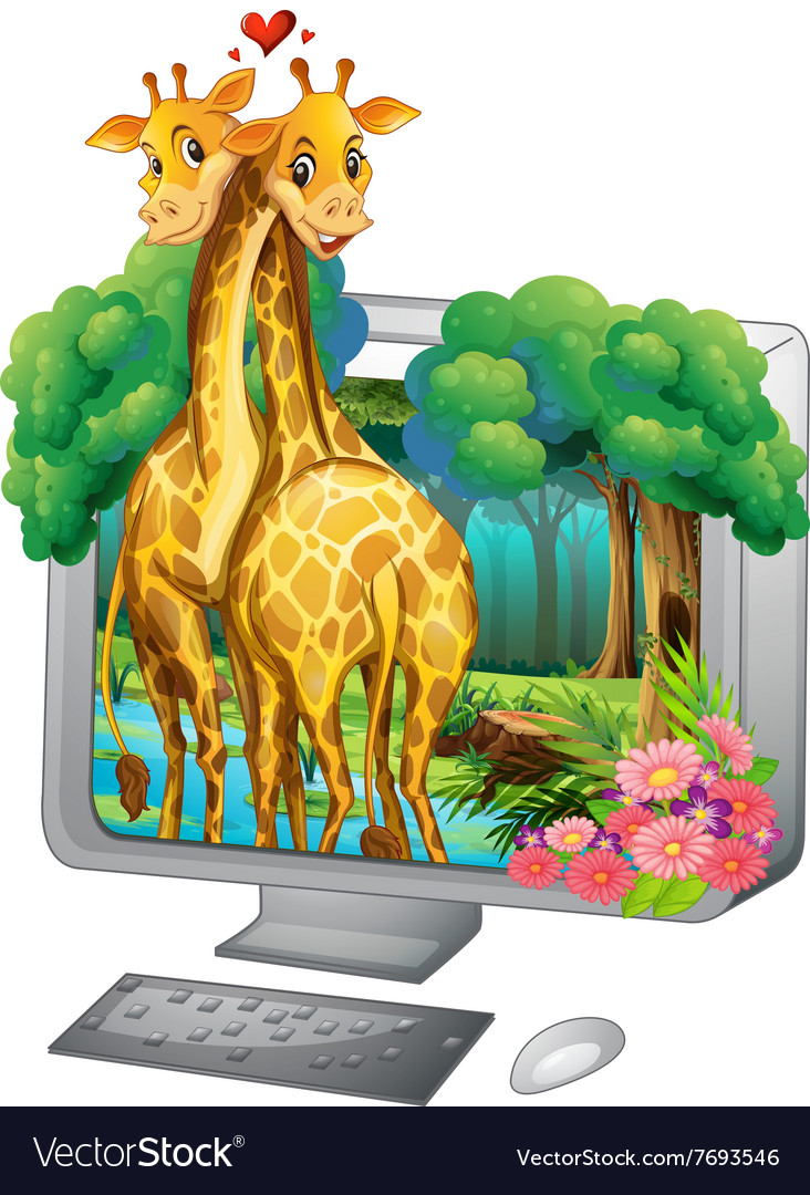 Computer screen with two giraffe hugging vector