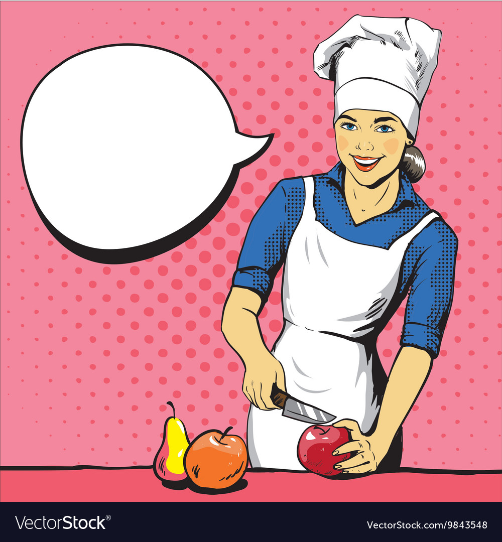 Beautiful woman cooking in vector