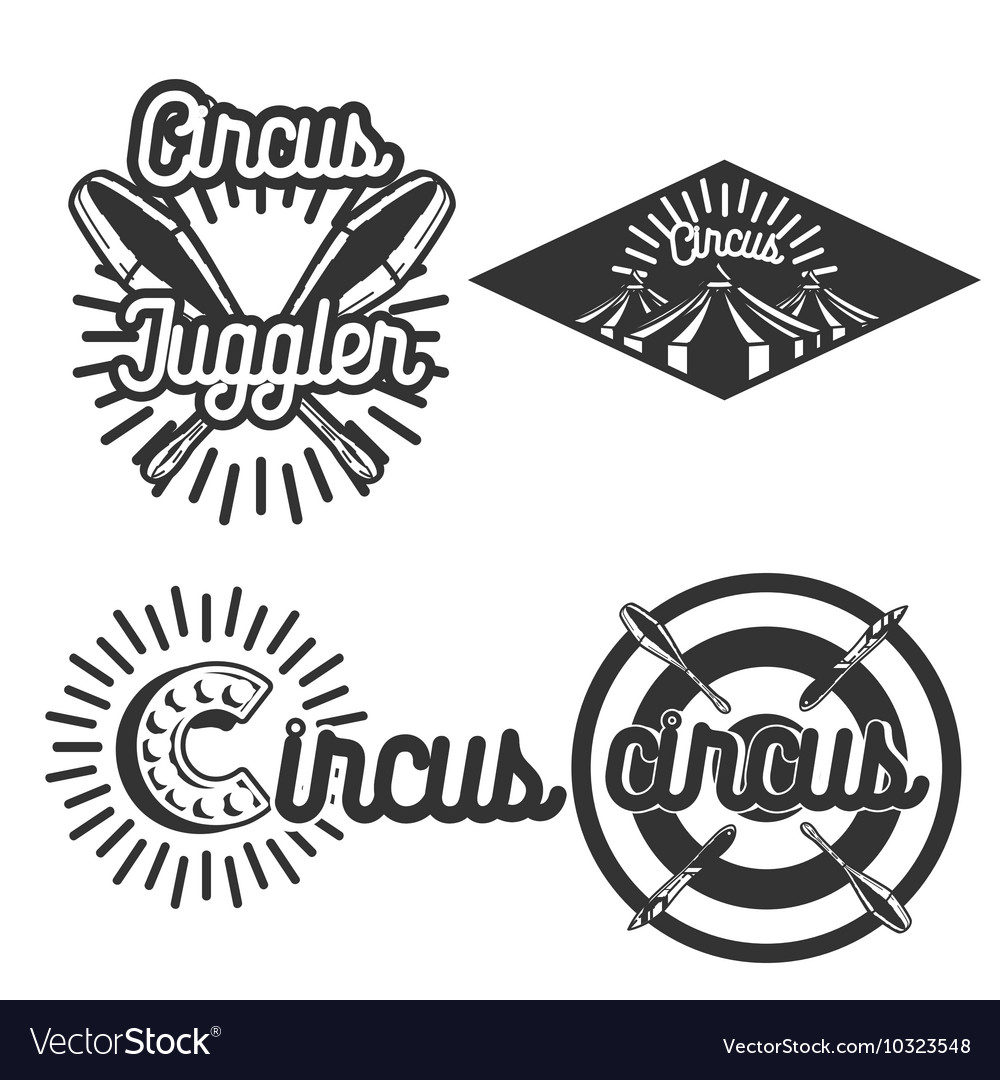 Vintage circus emblems vector