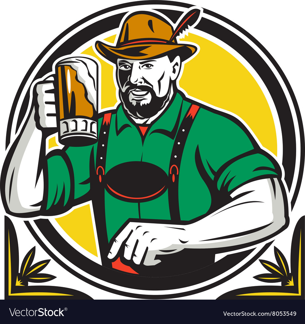 Oktoberfest german beer drinker circle retro vector