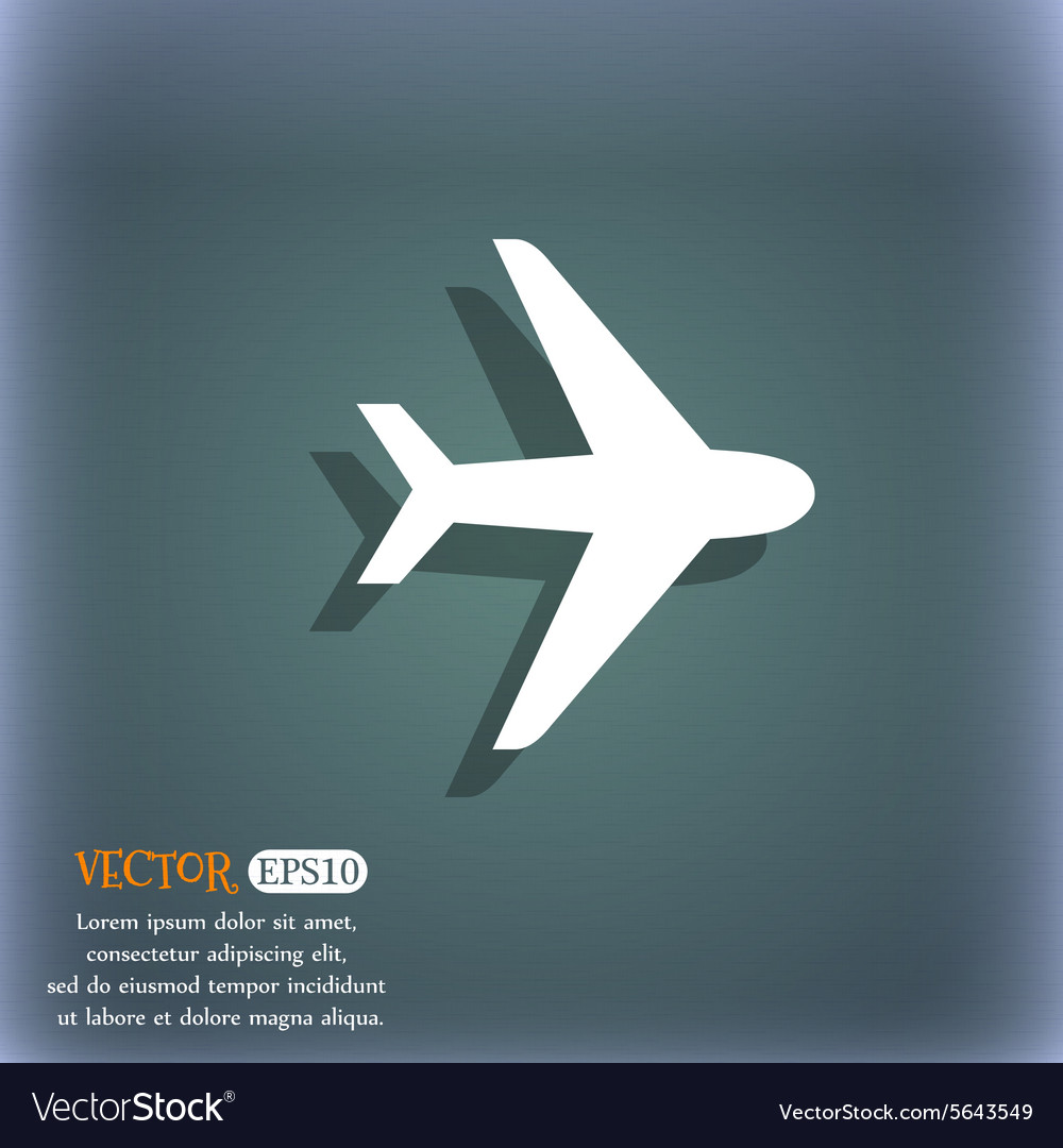 Plane icon symbol on the bluegreen abstract vector