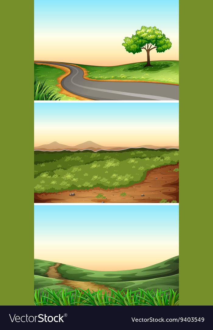 Three scenes with road in countryside vector