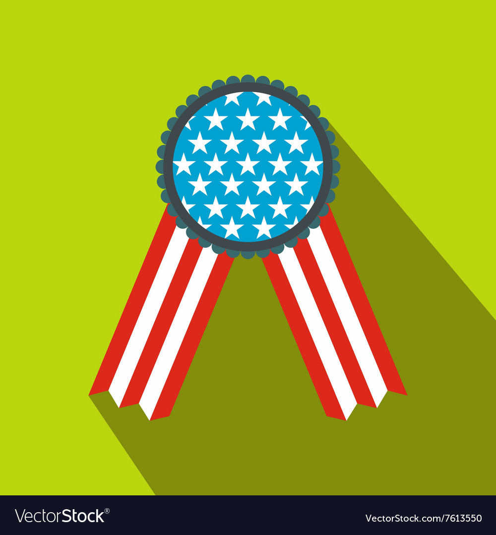 Ribbon rosette in the usa flag colors flat icon vector