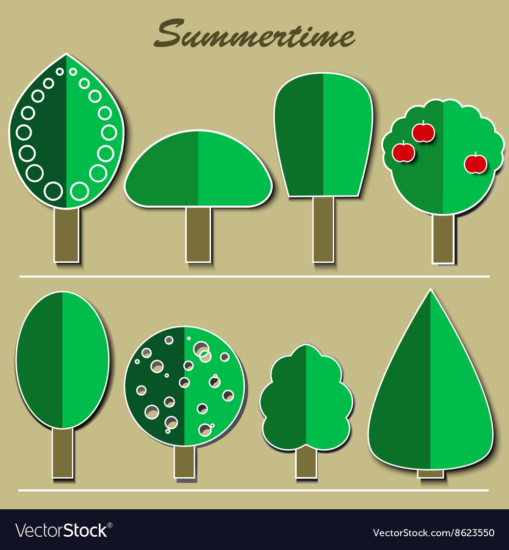 Set of summer trees vector