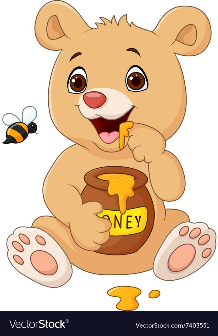 Cartoon funny baby bear holding honey pot isolated vector