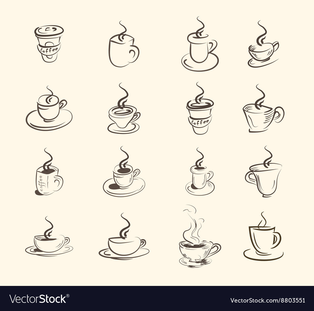 Cup of hot drink coffee tea etc big set vector