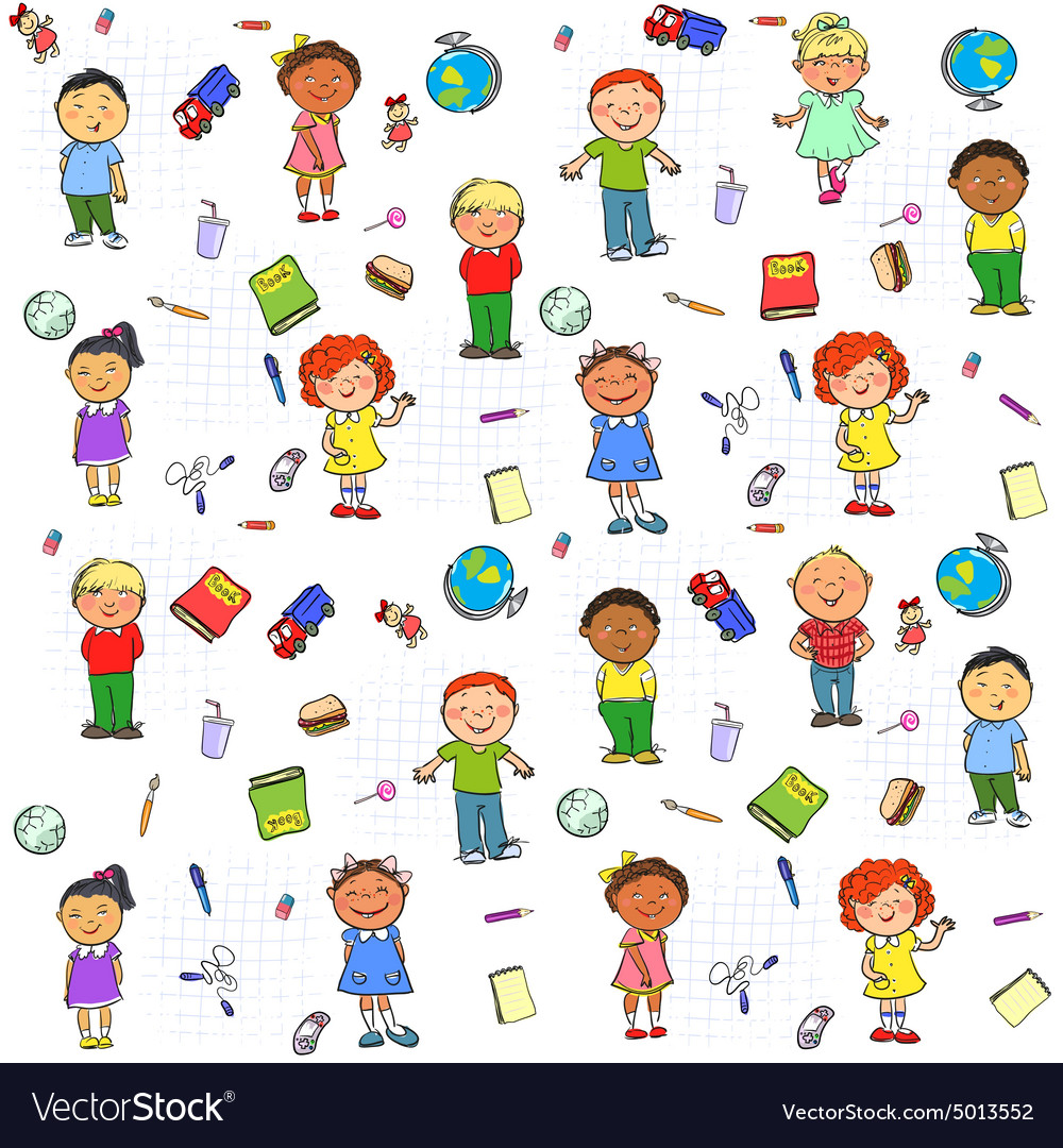 Seamless pattern with kids on it vector