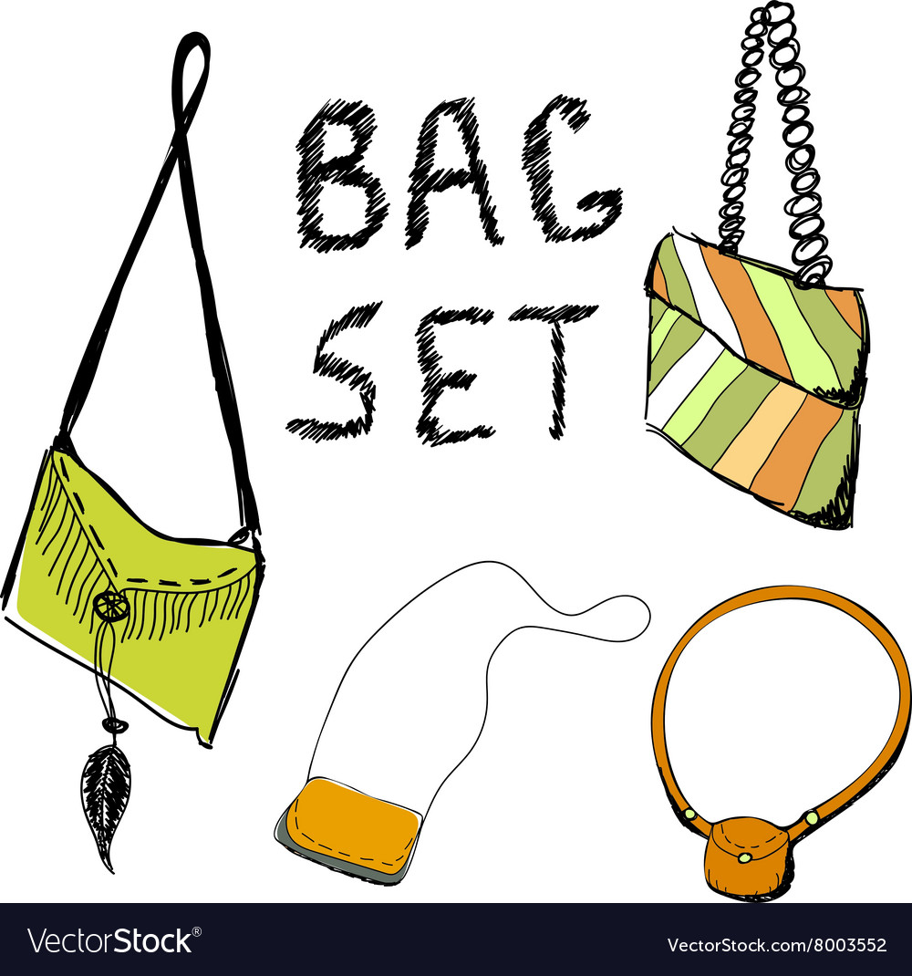 Set of hand draw bags of women vector