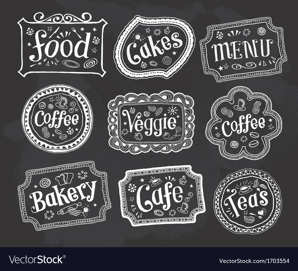 Blackboard frame signs hand drawn doodles vector