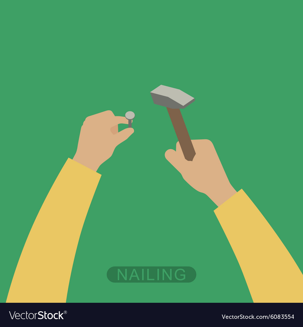 Hands with hammer vector