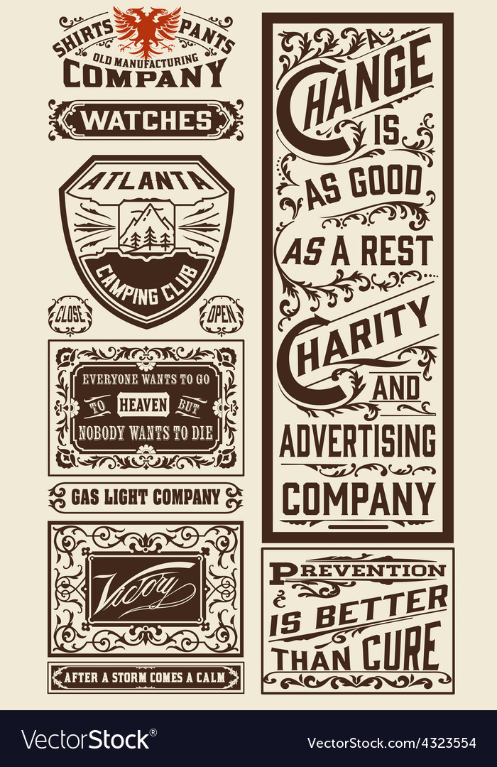 Old advertisement designs  vintage vector