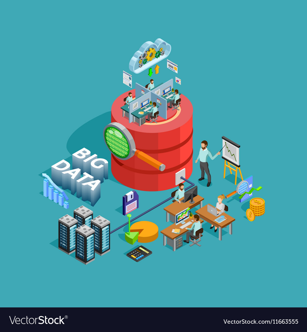 Data analytics analysis concept isometric poster vector