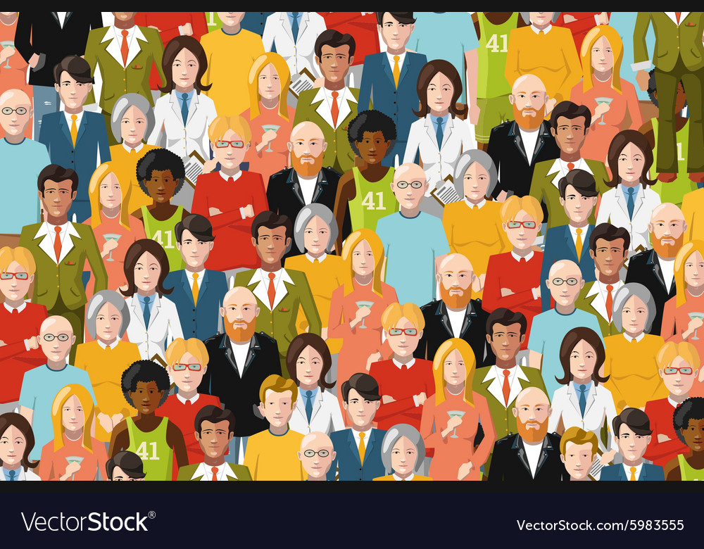 International crowd of people flat vector