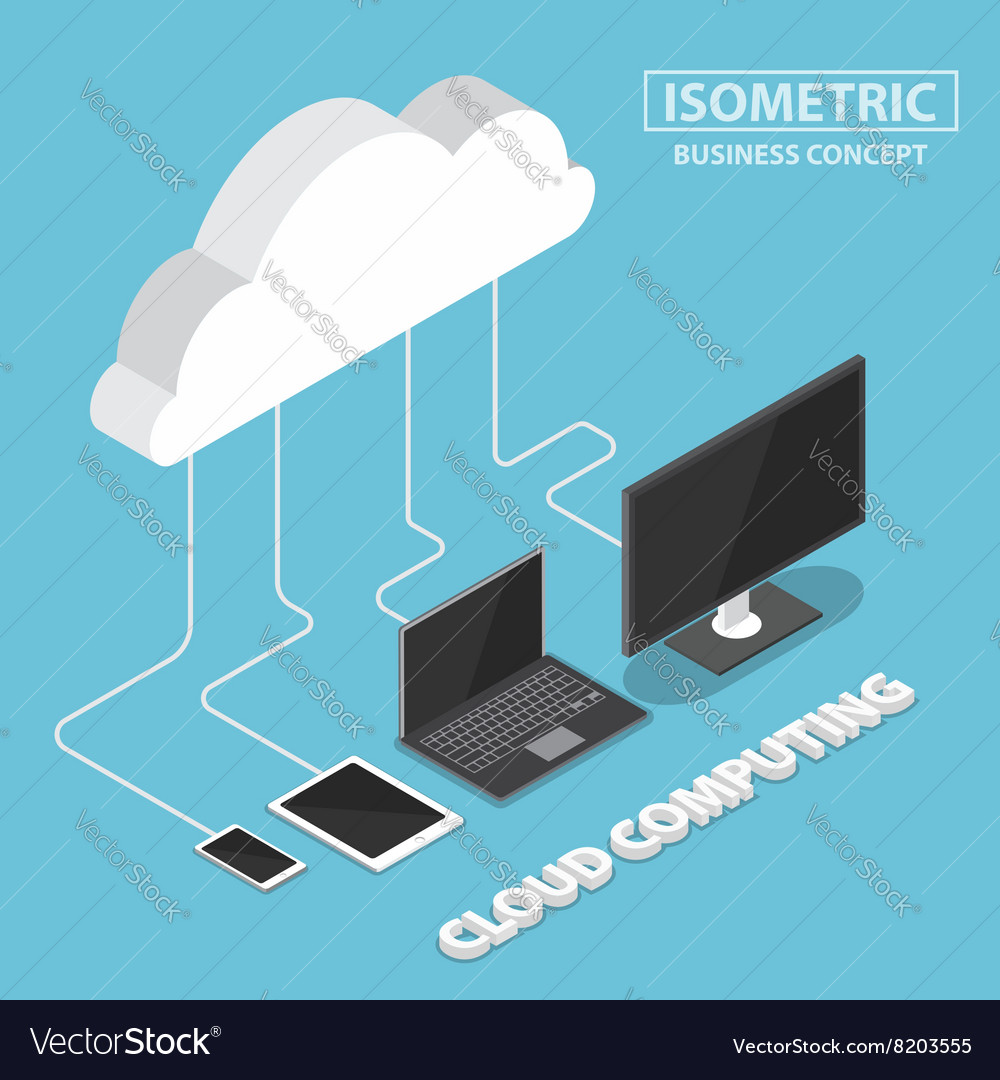Isometric electronic devices connecting with cloud vector