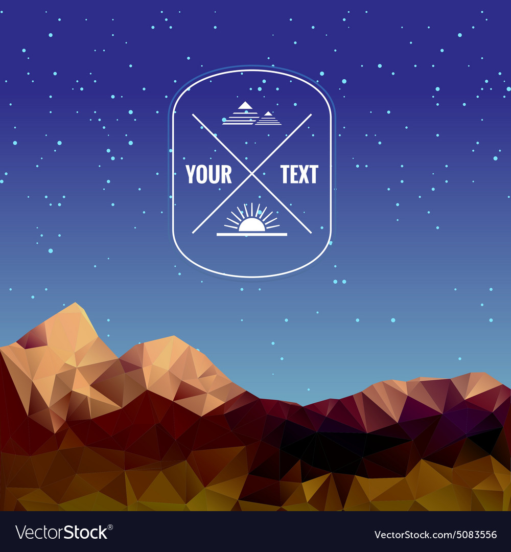 Low polygonal mountains at night vector